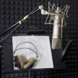 Condenser microphone in vocal recording room — Stockfoto
