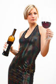 Young woman with red wine on white — Stock Photo