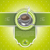 Background with a cup of tea and leaves — Stock Vector