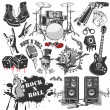 Set of vector symbols related to rock and roll - Векторная иллюстрация