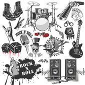 Ensemble de symboles vectoriels associés au rock and roll — Vecteur