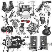 Conjunto de símbolos de vectores relacionados con el rock and roll — Vector de stock