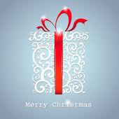 Kerstkaart. de doos van de gift met lint. vectorillustratie — Stockvector