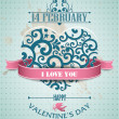 Valentine's Day greeting card in retro style — Stock Vector #18249813