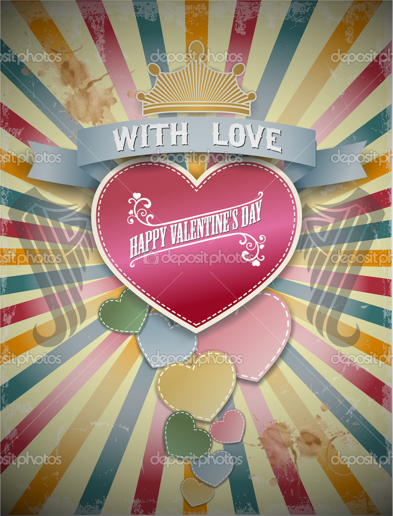 Card with Valentine's Day in vintage style. Vector illustration.  Stock Vector #18441631