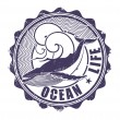 Ocean life. Stamp. Vector illustration. — Stock Vector