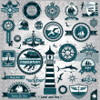 Large set of marine labels and stamps — Stock Vector