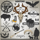 Set of vintage labels on hunting 2 — Stock Vector