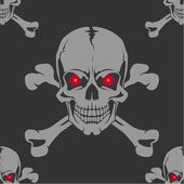 Seamless background with skull and crossbones — Stock Vector