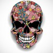 Skull with floral ornaments — Stock Vector