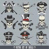 Vector set of skulls — Stock Vector