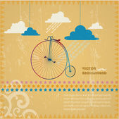 .Abstract background with a vintage bicycle — Stock Vector