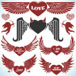 Valentines vector set with wings. — Stock Vector #38191463