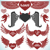 Valentines vector set with wings. — Stock Vector