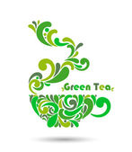 Сup of green tea. vector illustration. — Stock Vector