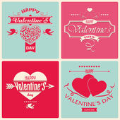Valentine's Day greeting card in retro style — Stock Vector
