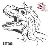 Sketch of tattoo dinosaur. — Stock Vector