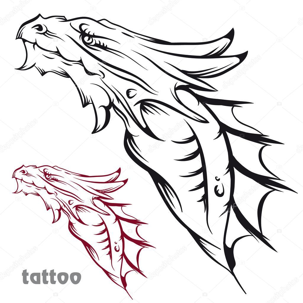 Дракон тату эскизы карандашом