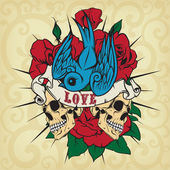 Colored sticker on the shirt with a skull, roses and swallow. Vector. — Stock Vector