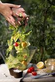 Salad preparation — Stock Photo
