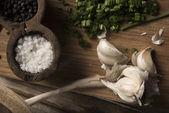 Salt and garlic — Stock Photo