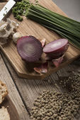 Onions and lentils — Stock Photo