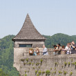 Tourists in the  fortress Hohensalzburg — Stock Photo