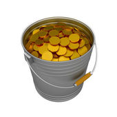 Bucket coins — Stock Photo