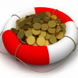 Coins in lifesaver. — Stock Photo