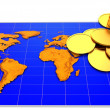 Coins and map — Stock Photo