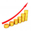 Arrowed Coins chart — Stock Photo