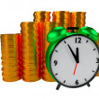 Alarm clock and coins — Stock Photo #13840773