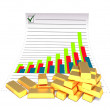 Gold bars and chart — Stock Photo