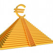 Gold pyramid and euro - Stock Photo