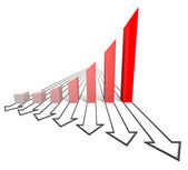 Arrowed business chart red — Stock Photo