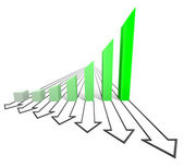 Arrowed business chart green — Stock Photo