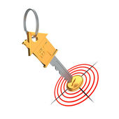 Gold key and target — Stock Photo