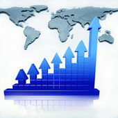 Business chart and map — Stock Photo