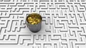 Coins in the labyrinth — Stock Photo