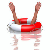 Rescue buoy and drowning hands — Stock Photo
