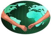 Handshake over World — Stock Photo