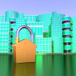Lock over green city — Stock Photo