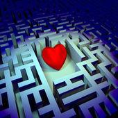 Heart in dark labyrinth — Stock Photo