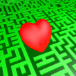 Heart in green labyrinth — Stock Photo