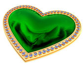 Emerald heart jewelry — ストック写真