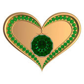 Emerald heart jewelry — Stock Photo