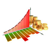 Chart and golden coins — Stock Photo
