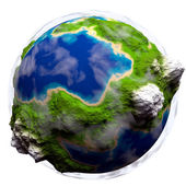 Cartoon earth with some clouds — Stock Photo