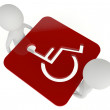 3d humanoid character hold a handicapped symbol — Stock Photo