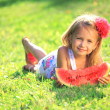 Stock Photo: Girl eating watermelon